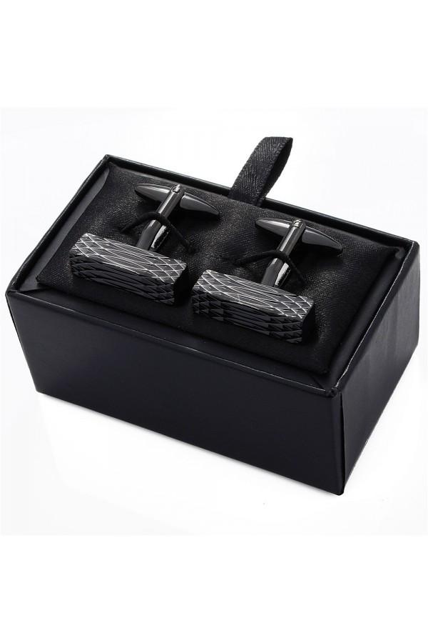 Prostokątne czarne spinki do mankietów -