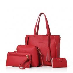 Zestaw damskiej galanterii z torebką koloru czerwonego. -