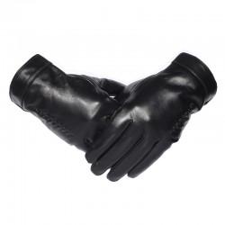 Ocieplane zimowe skórzane rękawiczki męskie. -