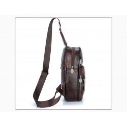 Skórzany plecak na jedno ramię. -