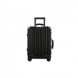 Wytrzymała i lekka walizka podróżna wykonana z stopu aluminium w kolorze czarnym. -