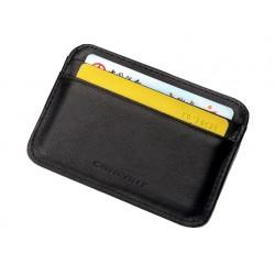 Skórzany męski- damski czarny, mały wizytownik. Etui na karty kredytowe. -