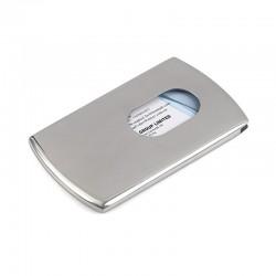 Metalowe etui na wizytówki z możliwością wyciągnięcia wizytówki jednym palcem. -