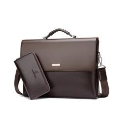 Skórzana męska teczka w kolorze brązowym z portfelem. -