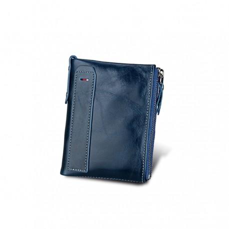 fae32b2c604db Skórzany mały portfel męski z dwoma szybkimi kieszonkami na zasuwek. -