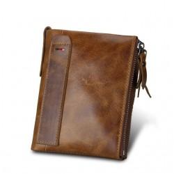 Skórzany mały portfel męski z dwoma szybkimi kieszonkami na zasuwek. -