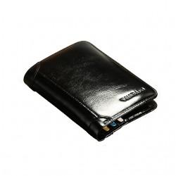 Czarny portfel męski wykonany z wielką starannością o detale z skóry naturalnej. -