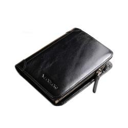 Elegancki męski portfel skórzany zmiejscem nabilon ikieszonkami na karty. -