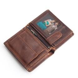 Męski skórzany portfel wykonany w stylu vintage - retro. -