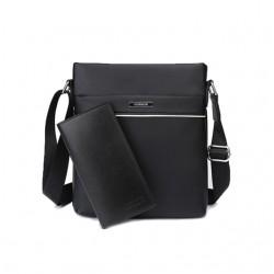 Czarna skórzana elegancka męska listonoszka z portfelem -
