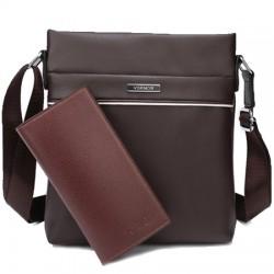 Brązowaskórzana elegancka męska listonoszka z portfelem -