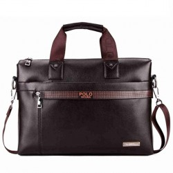 Brązowa elegancka męska torba na laptopa wykonana z skóry ekologicznej. -