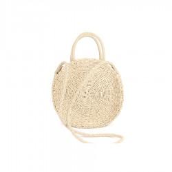 Damski mały okrągły kuferek w bardzo modnym i oryginalnym stylu bali.Ręcznie wykonana torebka z naturalnych materiałów.