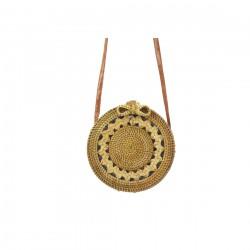 Damska torebka wiklinowa bali. Wykonana ręcznie z pięknym wzorem i skórzanym paskiem na ramię. -