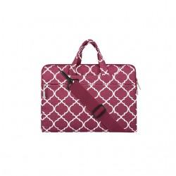 Damska kolorowa torba na laptopa, w środku wyścielana delikatną tkaniną. -