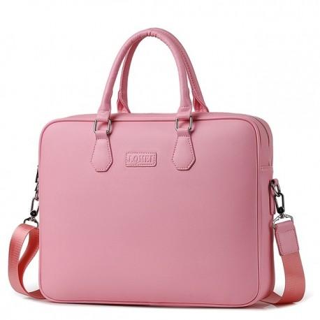 Różowa damska skórzana torba na laptopa -
