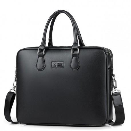 Czarnadamska skórzana torba na laptopa -