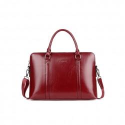 Czerwonaelegancka torebka na laptopa. -