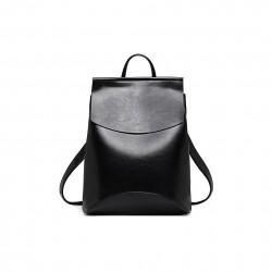 Damski skórzany plecak torebka w kolorze czarnym -