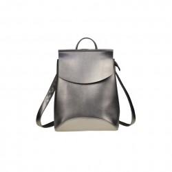 Damski skórzany plecak torebka w kolorzesrebrnym -