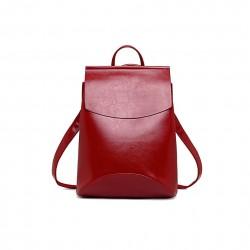 Damski skórzany plecak torebka w kolorzeczerwonym -