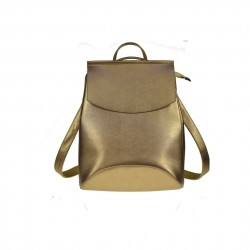 Damski skórzany plecak torebka w kolorzezłotym -