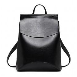 edbb71b663d8b ... Damski skórzany plecak torebka w kolorze czarnym ...