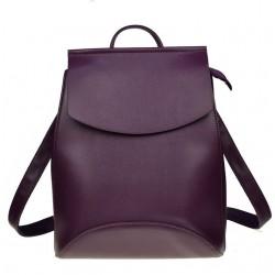 Damski skórzany plecak torebka w kolorze purpurowym -
