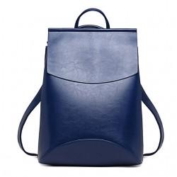 Damski skórzany plecak torebka w kolorzeniebieskim -