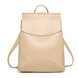 Damski skórzany plecak torebka w kolorzebeżowym -