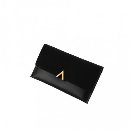 faff93b0c7622 Czarny elegancki damski skórzany portfel -