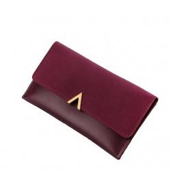 Czerwony winnyelegancki damski skórzany portfel -