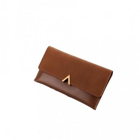 081324397016f Brązowy elegancki damski skórzany portfel -