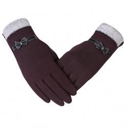Materiałowe ciepłe damskie rękawiczki -