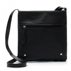 Czarna skórzana listonoszka damska z kieszonką z przodu torebki. -