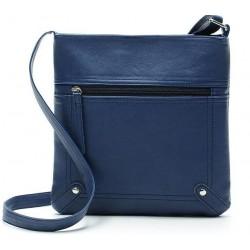 Niebieskaskórzana listonoszka damska z kieszonką z przodu torebki. -