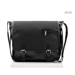 Stylowa czarna męska torba na ramię S12 - MUST-HAVE podczas studiów czy pracy w biurze. Idealne wymiary pozwalają na pom
