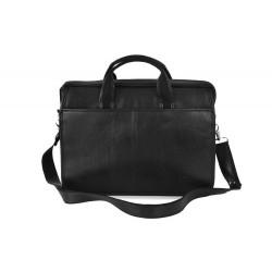 Czarna skórzana męska torba laptopa S13 - MUST-HAVE podczas studiów czy pracy w biurze. Idealne wymiary pozwalają na pom