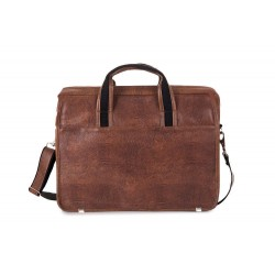 Brązowa skórzana męska torba na laptopa S13 - MUST-HAVE podczas studiów czy pracy w biurze. Idealne wymiary pozwalają na