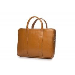 Elegancka musztardowa męska torba na laptopa SL20 - nieodłącznym elementem mężczyzny podczas służbowego spotkania z lapt