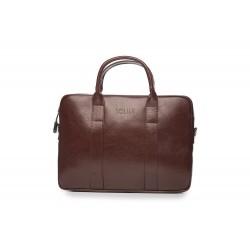 Brązowa skórzana męska torba na laptopa SL20 - nieodłącznym elementem mężczyzny podczas służbowego spotkania z laptopem.