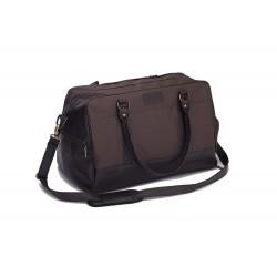 Skórzana brązowa torba męska na siłownie S18 - powinna być i w Twojej garderobie. Sportowy wyraz, klasyczne materiały i