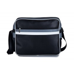 Męska czarna z pasami torba na ramię MS1 - czyli wygodne przenoszenie małego laptopa lub tabletu oraz dokumentów. Szerok