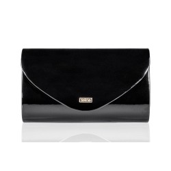 Czarna elegancka lakierowana kopertówka F15 - perfekcyjna na wieczorne spotkania z znajomymi, eleganckie imprezy, sylwes