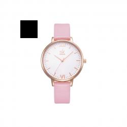 Damski zegarek na skórzanym wąskim pasku w kolorze różu i złota -