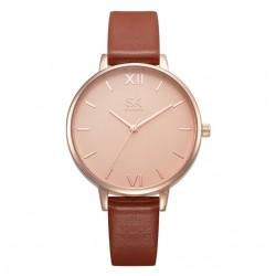 Damski zegarek na skórzanym wąskim pasku w kolorzebrązu i złota -
