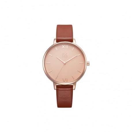 76ab10a38e126d Damski zegarek na skórzanym wąskim pasku w kolorze brązu i złota -