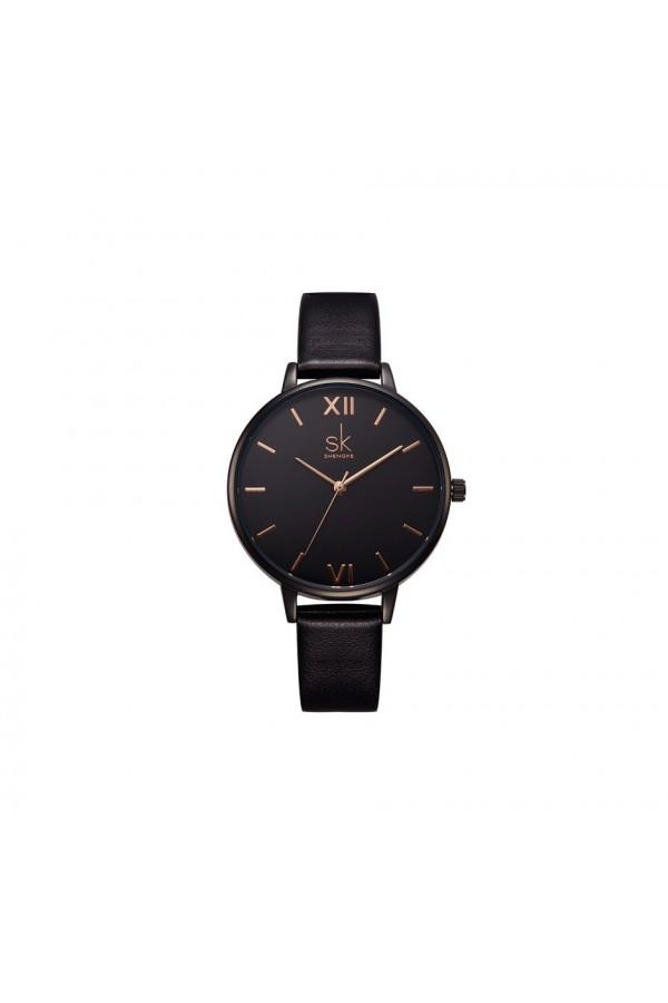 Damski zegarek na skórzanym wąskim pasku w kolorzeczarnym i złotym -
