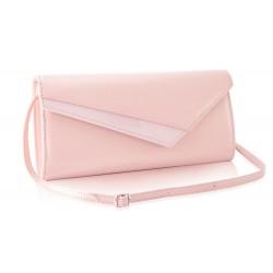 Jasno różowa lakierowana kopertówka damska F17 - idealna na cudownego sylwestra, wesele czy imprezę wieczorną. Dzięki id