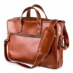 Brązowa elegancka męska skórzana torba na laptopa SL04 - wykonana z solidnej skóry naturalnej w klasycznym pasującym do